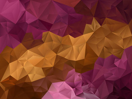 tessellated: vector abstract irregular polygon background with a triangle pattern in gold beige brown and magenta violet purple pink color