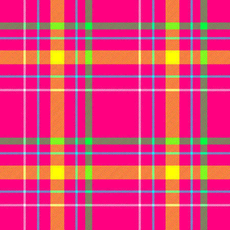 vibrant hot pink, yellow, green and blue color check diamond tartan plaid fabric seamless pattern texture background