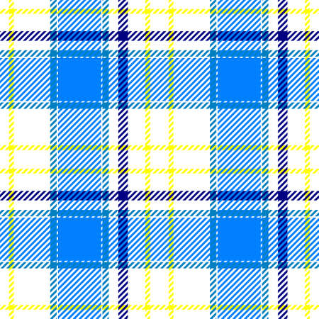 white, blue and yellow color check diamond tartan plaid fabric seamless pattern texture background