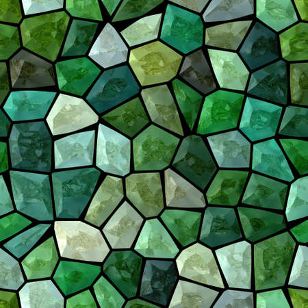 dark emerald green multi colored abstract marble irregular plastic stony mosaic pattern texture seamless background with black grout Stock Photo