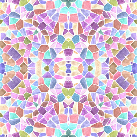 mosaic kaleidoscope seamless pattern texture background - sweet pastel multi colored with white grout Stock Photo