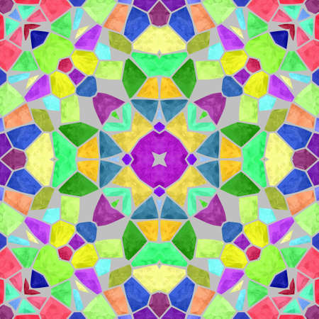 grout: mosaic kaleidoscope seamless pattern texture background - vibrant pastel spectrum colored with gray grout