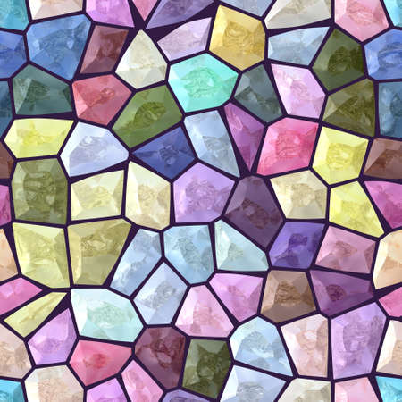 pastel colorfull colored abstract marble irregular plastic stony mosaic pattern texture seamless background with dark purple grout _ full spectrum colors