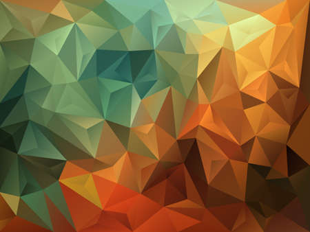 vector abstract irregular polygon background with a triangle pattern in vintage autumnal green, brown and orange color