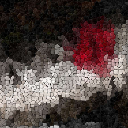 colored abstract marble irregular plastic stony mosaic pattern texture background with black grout - dark gray, light gray, red, brown colors Stock Photo
