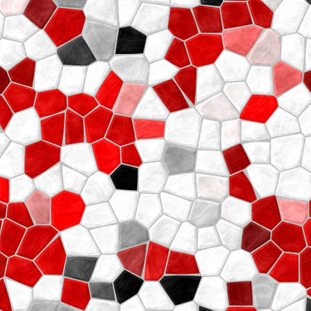 vibrant contrasting colored abstract marble irregular plastic stony mosaic pattern texture background with gray grout - white, red and black colors Stock Photo