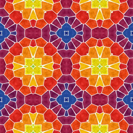 mosaic kaleidoscope seamless pattern texture background - vibrant multi colored with white grout