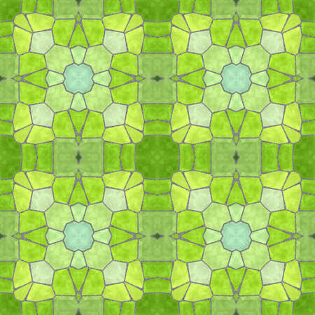 mosaic kaleidoscope seamless pattern texture background - spring fresh colored with gray grout Stock Photo
