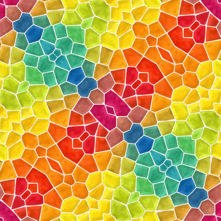 mosaic kaleidoscope seamless pattern texture background - full spectrum rainbow colored with color white grout