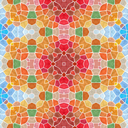 mosaic kaleidoscope seamless pattern texture background - full color spectrum colored with white grout Stock Photo