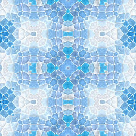 mosaic kaleidoscope seamless pattern texture background - light blue colored with white grout Stock Photo