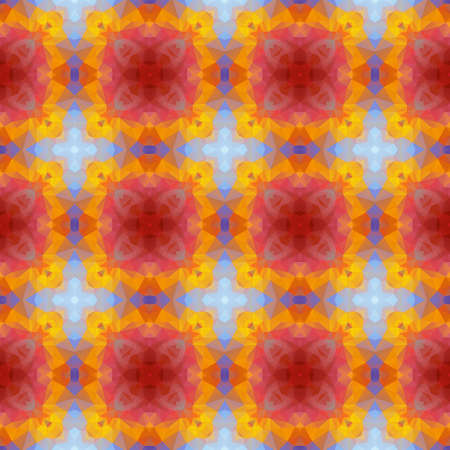 glasswork: mosaic kaleidoscope seamless pattern texture background - red, yellow, blue
