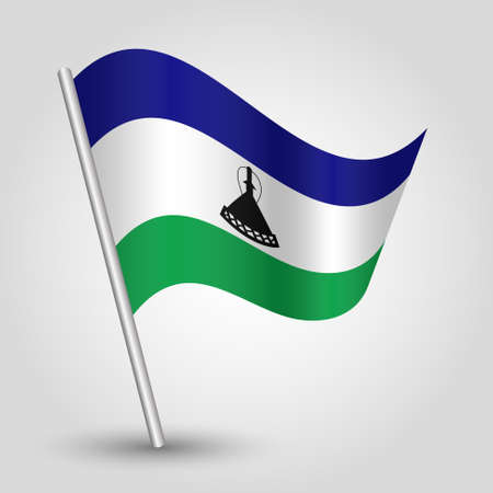 vector waving simple triangle mosotho flag on slanted silver pole - icon of kingdom of lesotho with metal stick Illustration