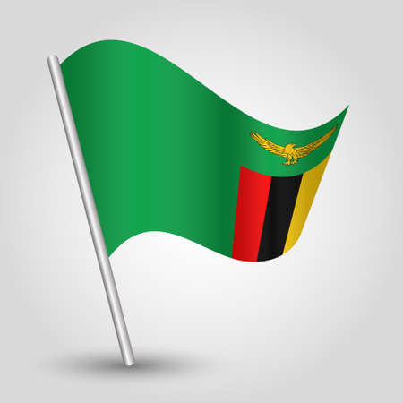 vector waving simple triangle zambian flag on slanted silver pole - icon of republic of zambia with metal stick