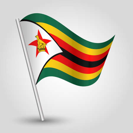 vector waving simple triangle zimbabwean flag on slanted silver pole - icon of republic of zimbabwe with metal stick