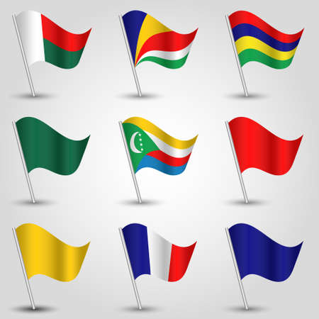 mayotte: vector set of waving flags east africa on silver pole and blue, red, yellow and green one - icon of states madagascar, mauritius, comoros, seychelles, reunion and mayotte Illustration