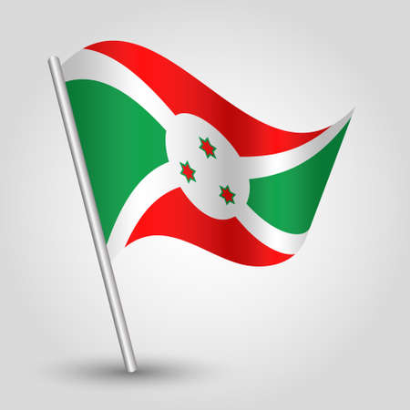 vector waving simple triangle burundian flag on slanted silver pole - icon of burundi with metal stick