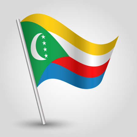 vector waving simple triangle comorian flag on slanted silver pole - icon of comoros with metal stick
