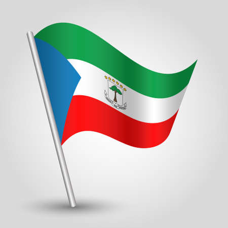 vector waving simple triangle guinean flag on slanted silver pole - icon republic of equatorial guinea with metal stick Illustration