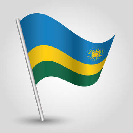 vector waving simple triangle rwandan flag on slanted silver pole - icon of rwanda with metal stick