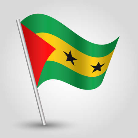 vector waving simple triangle santomean flag on slanted silver pole - icon of sao tome and principe with metal stick
