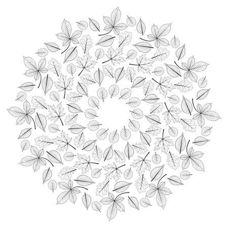 Color Vector De Todo El Otoño De Hojas Mandala - Página De Libro ...