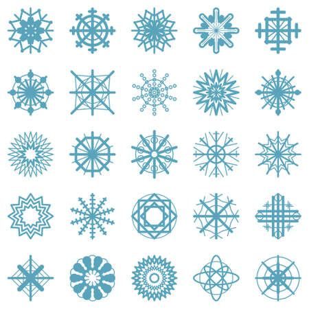vector set of twenty five symbols of blue snowflakes - simply winter icons in flat design - isolated on white background