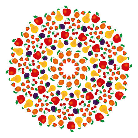 symetry: vector colored round summer fruity mandala - adult coloring book page