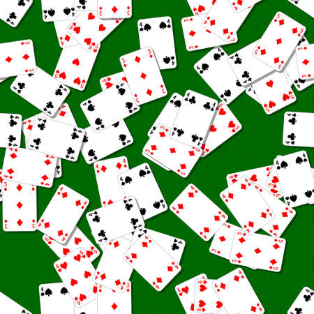 seamless background with playing cards randomly scattered on a green table Stock Photo