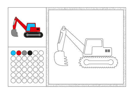 pneumatic: adult coloring book page with colored template, decorative frame and color swatch - black and white contour picture - red excavator