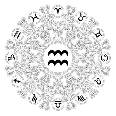 Zwart-witte ronde geometrische mandala met teken van de dierenriem van waterman volwassen kleurboek pagina Stockfoto - 71668374