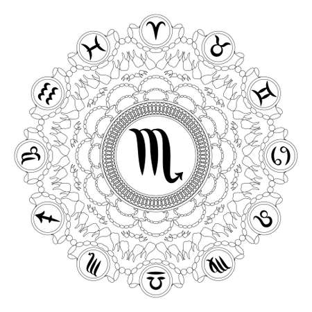Black and white round geometric mandala with zodiac symbol of scorpio adult coloring book page Illustration