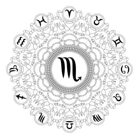 Black and white round geometric mandala with zodiac symbol of scorpio adult coloring book page Stock Illustratie