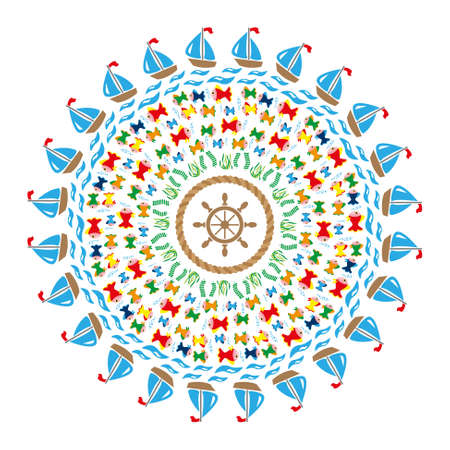 Colored round navy mandala with symbols sea fishes, waves, ships, underwater plants,  twisted rope and rudder in the middle.