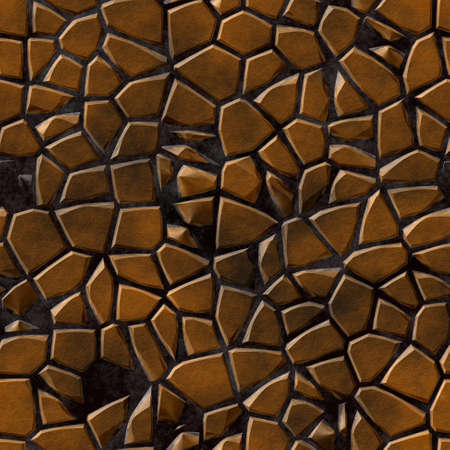 tessellate: colored abstract irregular stony mosaic pattern texture seamless background with dark grout - bronze brown colored Stock Photo
