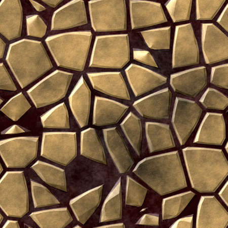 tessellate: colored abstract irregular stony mosaic pattern texture seamless background with dark purple grout - gold beige colored