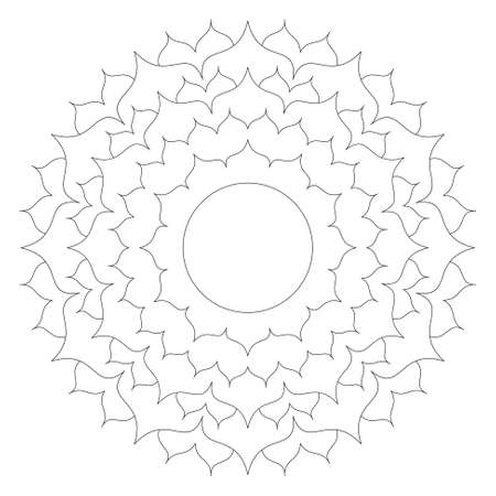 vector black and white round simple mandala lotus flower - adult coloring book page with copy space in the middle