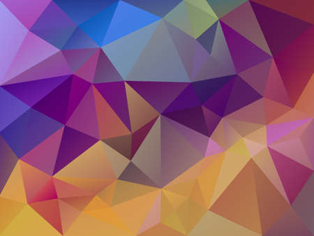 vector abstract irregular polygon background with a triangle pattern in multi color - yellow, pink, purple and blue