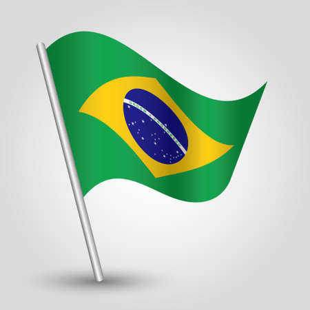 vector waving simple triangle brazilian flag on slanted silver pole - icon of brazil with metal stick