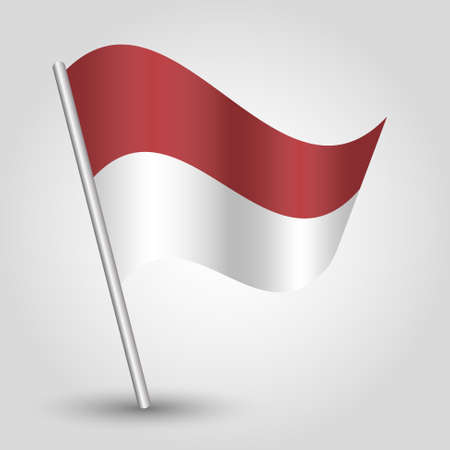 vector waving simple triangle indonesian flag on slanted silver pole - icon of indonesia with metal stick Vector Illustration
