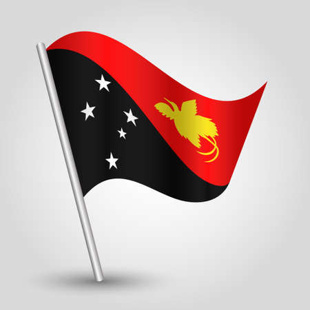 vector waving simple triangle guinean flag on slanted silver pole - icon of papua new guinea with metal stick