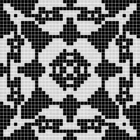 handful: black and white curtain lace square geometric seamless texture background with floral pattern