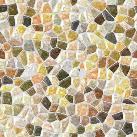 tessellate: light beige colored floor marble irregular plastic stony mosaic pattern texture seamless background with gray grout - natural colors Stock Photo