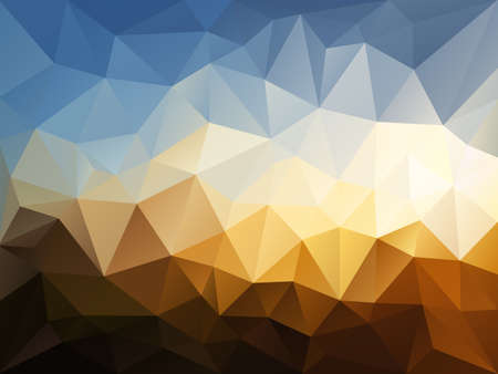 vector abstract irregular polygon background with a triangle pattern in blue, beige, brown color - sky over sandy desert landscape