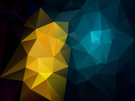 vector abstract irregular polygon background with a triangle pattern in dark black, blue and yellow color