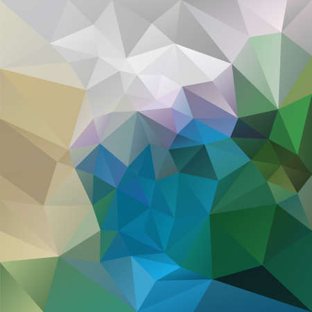 vector abstract irregular polygon background with a triangle pattern in peacock colors - green, blue, gray, beige, violet Illustration