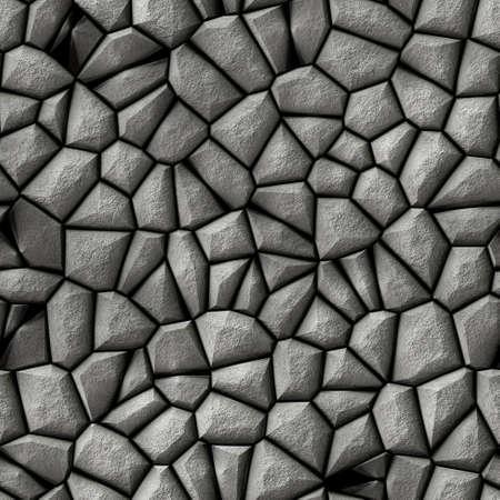 tessellate: cobble stones irregular mosaic pattern texture seamless background - pavement light gray colored Stock Photo