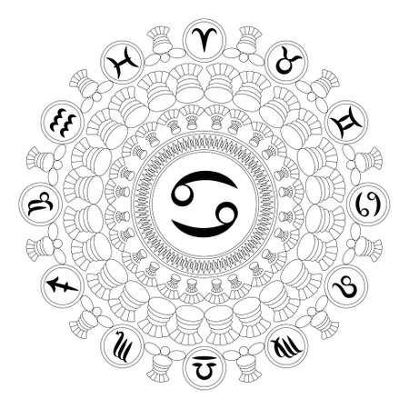 vector zwart en wit ronde geometrische mandala met dierenriem symbool van kanker - volwassen kleurboek pagina
