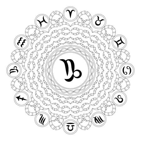 vector black and white round geometric mandala with zodiac symbol of capricorn - adult coloring book page. Stock Illustratie