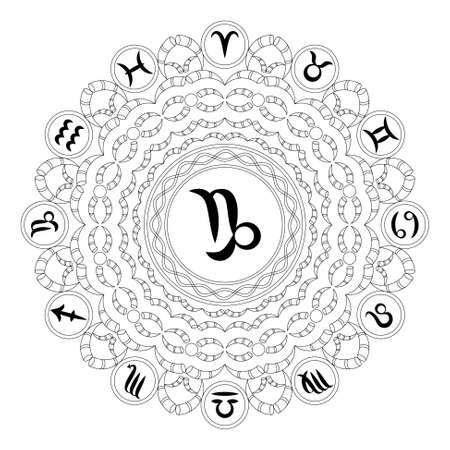vector zwart-wit ronde geometrische mandala met sterrenbeeld symbool van steenbok - volwassene kleurboek pagina.